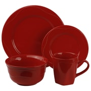 Ten Strawberry Street Nova Round Beaded 16 Piece Dinnerware Set; Red
