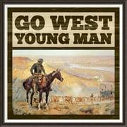 Global Gallery 'Western - Go West Young Man' by BG.Studio Framed Wall Art; 44'' H x 44'' W x 1.5'' D