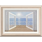Global Gallery 'Blue on Blue' by Diane Romanello Framed Painting Print; 16'' H x 22'' W x 1.5'' D