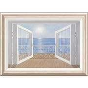 Global Gallery 'Blue on Blue' by Diane Romanello Framed Painting Print; 20'' H x 28'' W x 1.5'' D