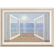 Global Gallery 'Blue on Blue' by Diane Romanello Framed Painting Print; 24'' H x 34'' W x 1.5'' D