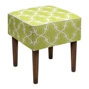123 Creations Trellis Linen Upholstered Modern Vanity Stool; Chartreuse