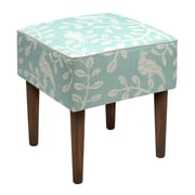 123 Creations Birds and Vines Linen Upholstered Modern Vanity Stool; Aqua