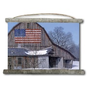 WGI GALLERY 'Old Barn Old Glory' Painting Print on White Canvas