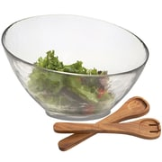 Woodard & Charles Glass Angle Salad Bowl with Wood Servers