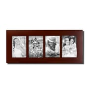 AdecoTrading 4 Opening Decorative Divided Picture Frame; Walnut