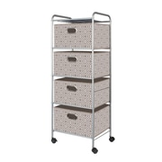 Bintopia 4 Drawer Fabric Cart; Tan