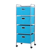 Bintopia 4 Drawer Fabric Cart; True Blue