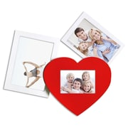 AdecoTrading 3 Opening Decorative Wall Hanging Collage Picture Frame; White/Red