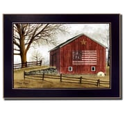 Trendy Decor 4U Flag Barn by Billy Jacobs Framed Painting Print; 10'' H x 14'' W x 2'' D