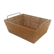 MImo Style Homegoods Javanese Style Plastic Wicker Basket with Metal Frame; 5'' H x 15'' W x 13'' D