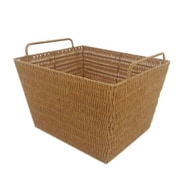 MImo Style Homegoods Javanese Style Plastic Wicker Basket with Metal Frame; 10'' H x 15'' W x 13'' D
