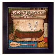 Trendy Decor 4U Red Canoe Lodge by Mollie B. Framed Painting Print