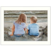 Trendy Decor 4U Boy and Girl Sitting in Dunes by Georgia Janisse Framed Painting Print