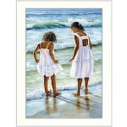 Trendy Decor 4U Two Girls at the Beach by Georgia Janisse Framed Painting Print
