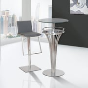 Armen Living Ibiza Adjustable Height Swivel Bar Stool; Gray