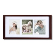 AdecoTrading 3 Opening Decorative Wall Hanging Picture Frame; Walnut