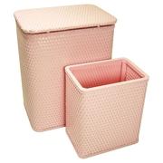 Redmon for Kids Chelsea Nursery Laundry Hamper and Waste Basket Set; Crystal Pink