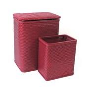 Redmon for Kids Chelsea Wicker Nursery Hamper and Matching Wastebasket; Raspberry