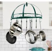 Kinetic Classicor Series Wrought-Iron Semicircle Pot Rack; Green