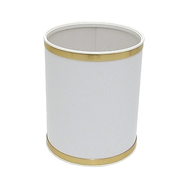 Redmon bath jewelry 2 gallon plastic trash can white with for Gold bathroom wastebasket