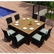 Harmonia Living Arbor 9 Piece Dining Set w/ Cushion; Canvas Spa