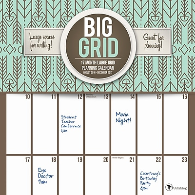 """""2017 TF Publishing 12"""""""" x 12"""""""" Big Grid: Design Wall Calendar 17 Month (17-1087)"""""" 2229638"