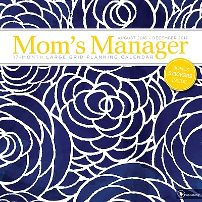 """""2017 TF Publishing 12"""""""" x 12"""""""" Mom's Floral Manager Wall Calendar 17 Month (17-1105)"""""" 2229596"