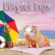 "2017 TF Publishing 7"" x 7"" Playful Pigs Mini Calendar  (17-2035)"