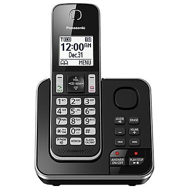 Panasonic – Téléphone sans fil KXTGD390B à 1 combiné avec répondeur, noir