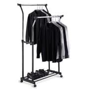 OIA Double Adjustable Garment Rack in Black & Chrome