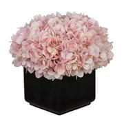 House of Silk Flowers Hydrangea Arrangement in Large Black Cube Ceramic; Baby Pink