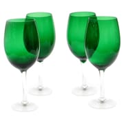Certified International Glass Stemware Green White Wine Glasses (Set of 4)