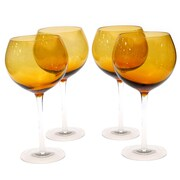 Certified International Glass Stemware Dark Amber Red Wine Glasses (Set of 4)