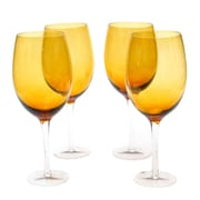 Certified International Glass Stemware Dark Amber White Wine Glasses (Set of 4)