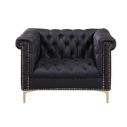 Iconic Home Winston Button Tufted with Gold Head Trim Club Chair; Black