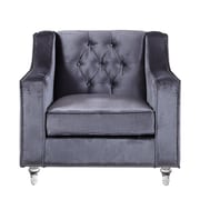 Iconic Home Dylan Silver Nailhead Trim Button Tufted Club Chair; Grey