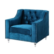 Iconic Home Dylan Silver Nailhead Trim Button Tufted Club Chair; Navy Blue