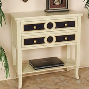 Heather Ann Heirloom Accent Cabinet; Antq.White W/Black and Gold Accents on the Drawers