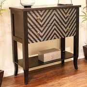 Heather Ann Heirloom Accent Cabinet; Black/Grey Chevron
