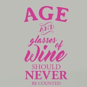 SweetumsWallDecals Age and Glasses of Wine Wall Decal; Hot Pink