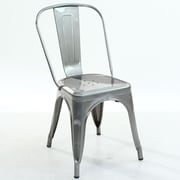 Edgemod Trattoria Side Chair (Set of 2); Polished Steel