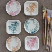 Creative Co-Op Dish w/ Transferware Pattern (Set of 6)