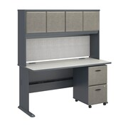 "Bush Cubix 60""W x 27""D Desk w Hutch and 2Dwr Mobile Pedestal, Slate/White Spectrum (SRA039SLSU)"