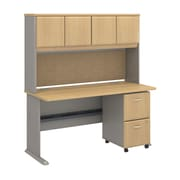 "Bush Cubix 60""W x 27""D Desk w Hutch and 2Dwr Mobile Pedestal, Danish Oak/Sage (SRA039LOSU)"