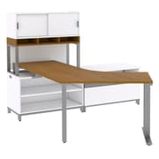 Bush Momentum Floating Right-Handed L-Desk with Open Storage, Piler/Filer and Hutch on Riser, Modern Cherry (MOM084RMC)