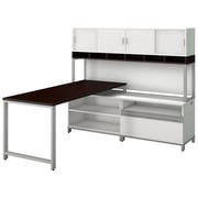 "Bush Momentum 72"" W X 30"" D Desk w/ 24""H Open Storage, 24""H Piler Filer and 72"" W Hutch with Doors, Mocha Cherry (MOM077MR)"