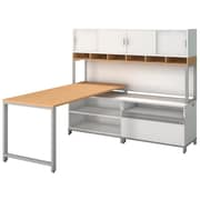 "Bush Momentum 72"" W X 30"" D Desk w/ 24""H Open Storage, 24""H Piler Filer and 72"" W Hutch with Doors, Natural Maple (MOM077AC)"