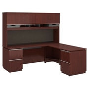 "Bush Milano2 72"" W X 24"" D Left Hand L Station with Hutch, Harvest Cherry (MI2037LCS)"