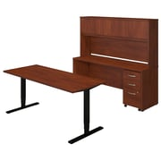 Bush Business Westfield Elite 72W Height Adjustable Table with Credenza and Storage, Hansen Cherry, Installed